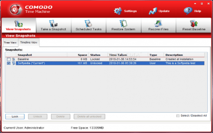 Comodo Time Machine Backup free