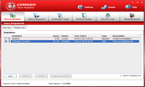 Comodo Time Machine Backup