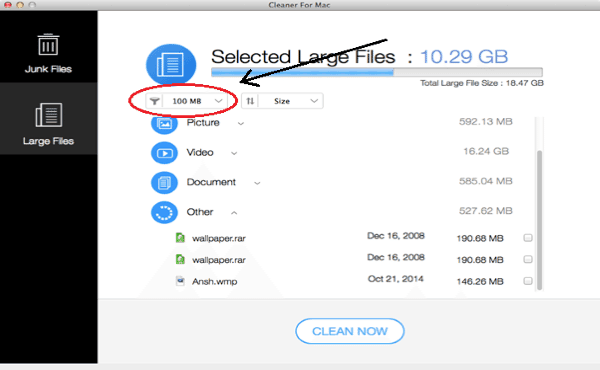 Systweak Doctor Disk Cleaner Deleting Large Files options