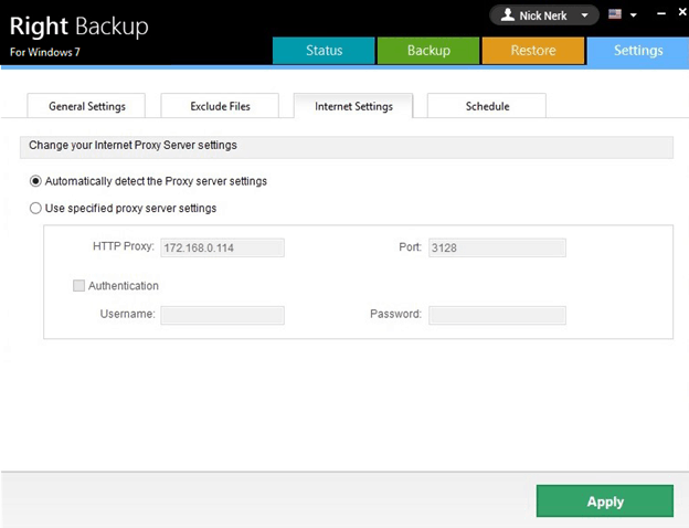 Right Backup internal Settings