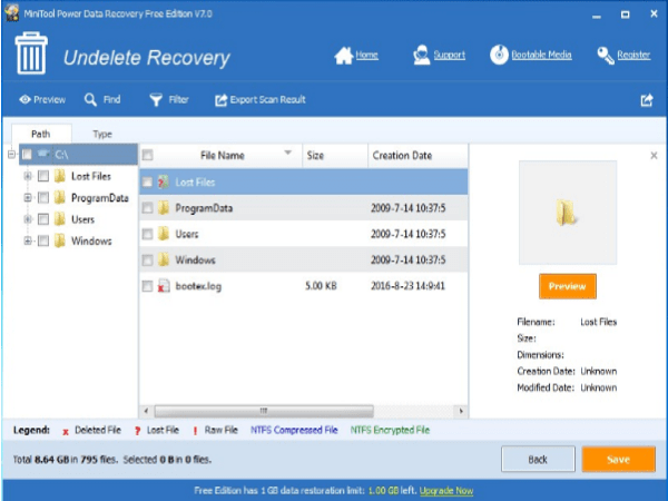 MiniTool Power Data Recovery file select