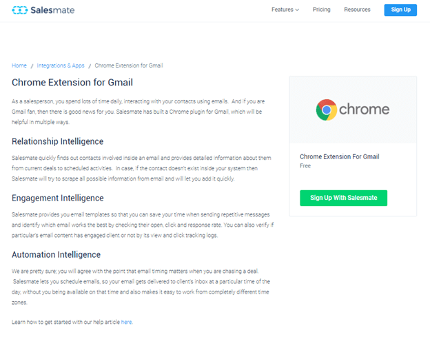 Salesmate Chrome Extension