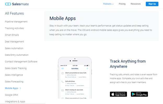 Salesmate Mobile app version