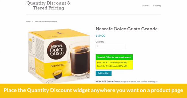 Quantity Discount Tiered Pricing Shopify App Combinations