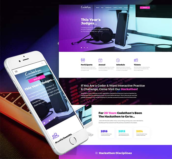 Codathon - Hackathon for Coders Landing WordPress Theme