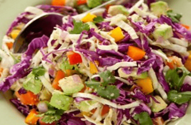 Lemony, cabbage coleslaw with avocado