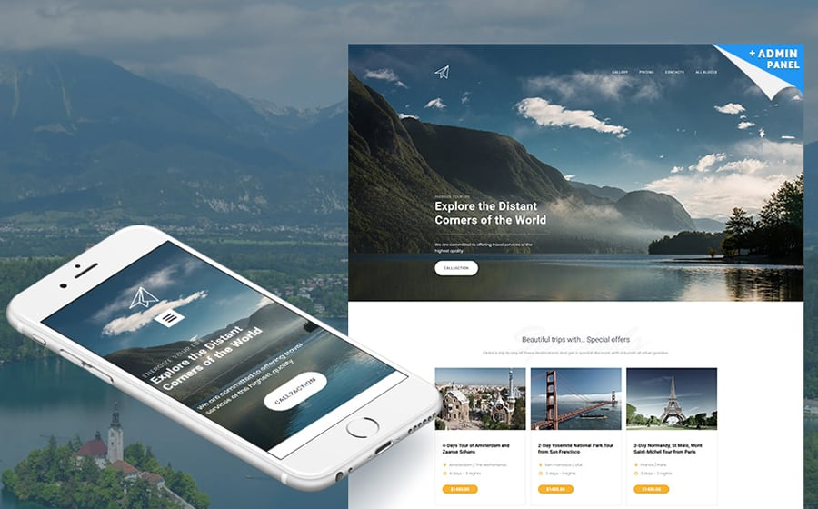 Skyline - Travel Agency MotoCMS 3 Landing Page Template