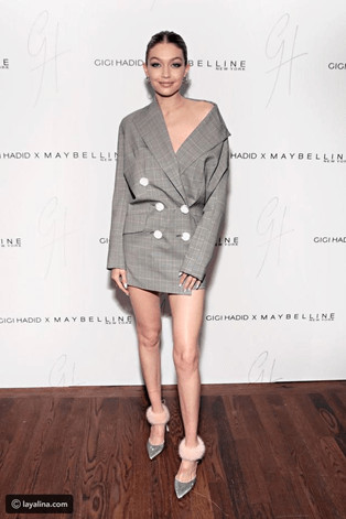 Gigi Hadid suit jacket statement