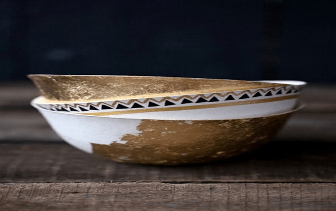 Gold-accent pottery,