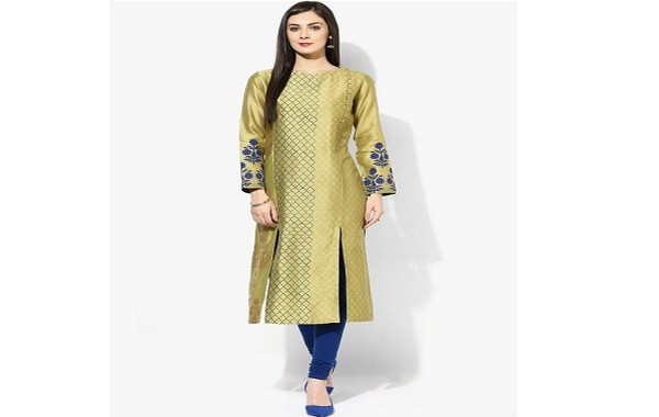 Straight cut kurta with fancy sleeves