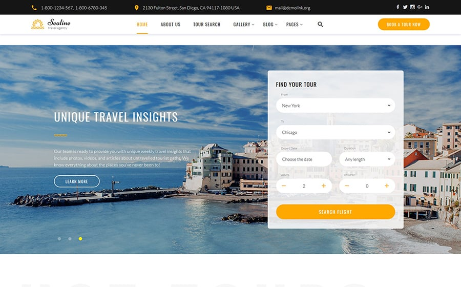 Sealine Travel Agency Multipage HTML Template