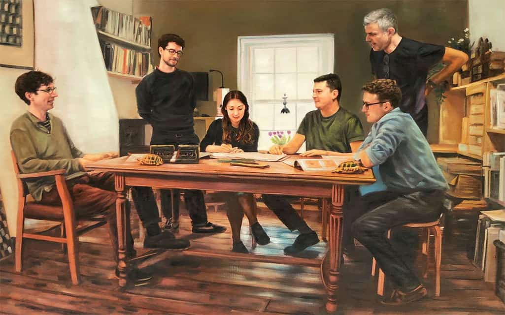 Painting of coworkers working on solving a problem together